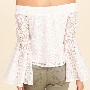 hollister lace off the shoulder top